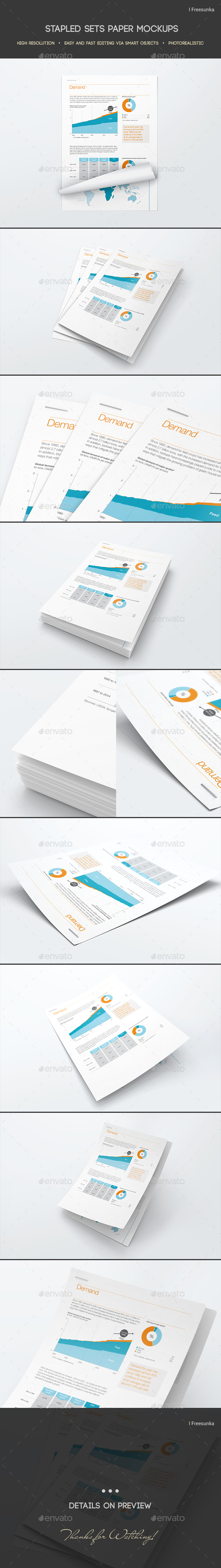 Stapled Sets Paper Mockups - Miscellaneous Print