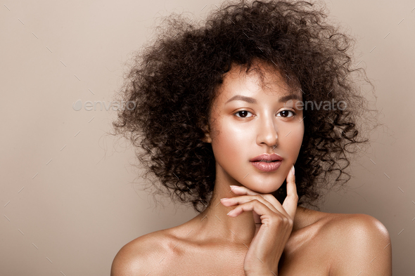 Fashion studio portrait of beautiful african american woman - Stock Photo - Images