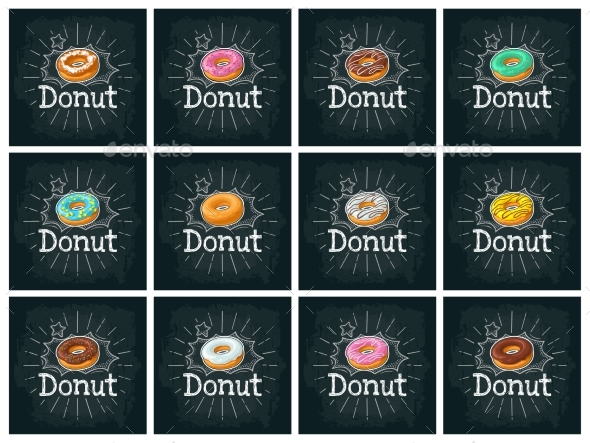 Set Donut with Different Icing - Food Objects