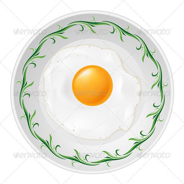 Fried egg on plate  - Food Objects