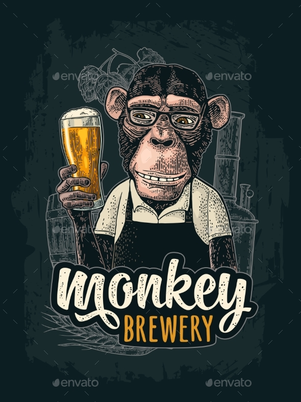 Monkey Dressed in Apron Holding Beer Glass - Animals Characters