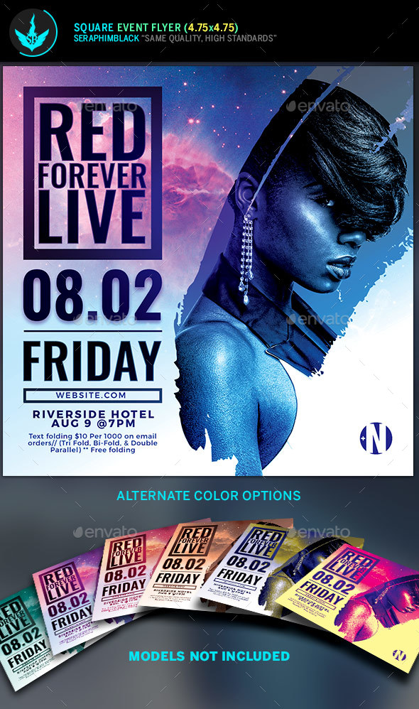 Live Concert Square Flyer Template - Flyers Print Templates