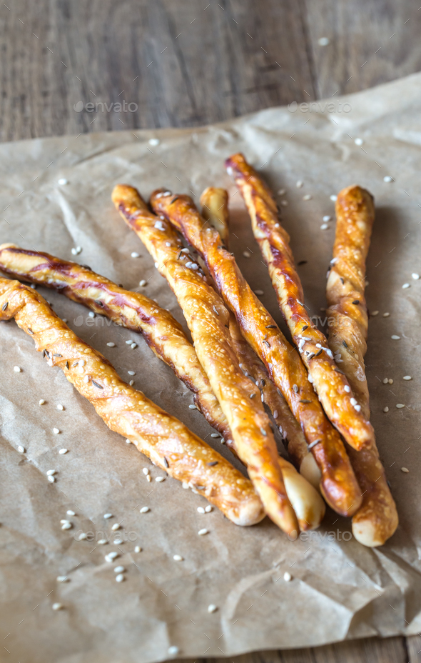 Breadsticks on the parchment - Stock Photo - Images