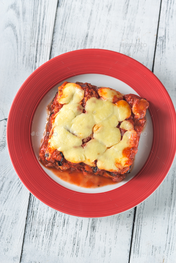 Portion of parmigiana di melanzane - Stock Photo - Images