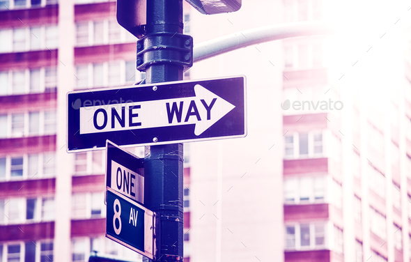 One way street sign, New York City. - Stock Photo - Images
