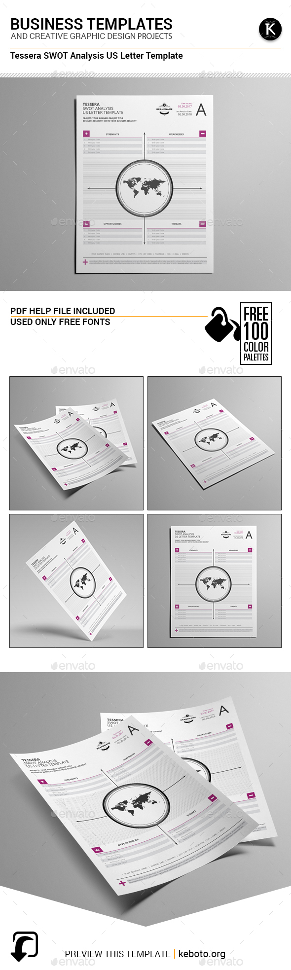 Tessera SWOT Analysis US Letter Template - Miscellaneous Print Templates