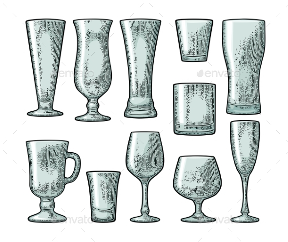 Set of Empty Glasses - Food Objects