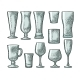 Set of Empty Glasses
