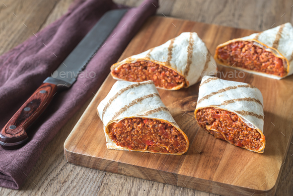 Burritos stuffed with ground beef - Stock Photo - Images