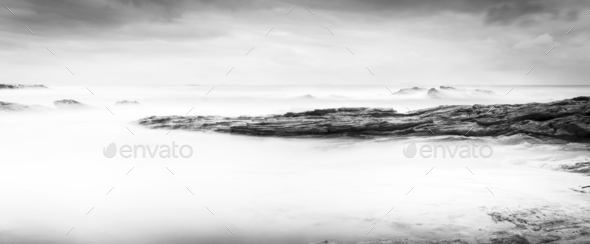 Calm Ocean Landscape Black and White - Stock Photo - Images