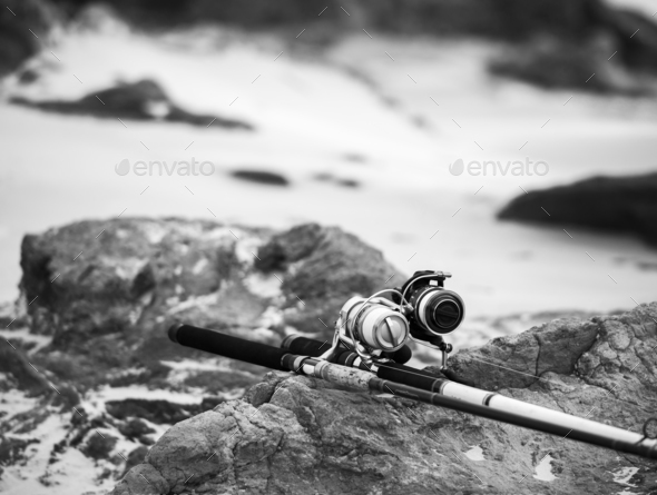 Fishing Rods On Beach Black and White - Stock Photo - Images