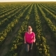 Happy Carefree Young Girl Running at Strawberry Field Among Rows with Bushes - VideoHive Item for Sale