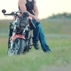 Biker Sitting on a Motorcycle Near the Highway. Camera Shot From Bottom To Top - VideoHive Item for Sale