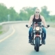 Motorcyclist Is Making a Large and Slow Turn To the Right on a Motorbike - VideoHive Item for Sale