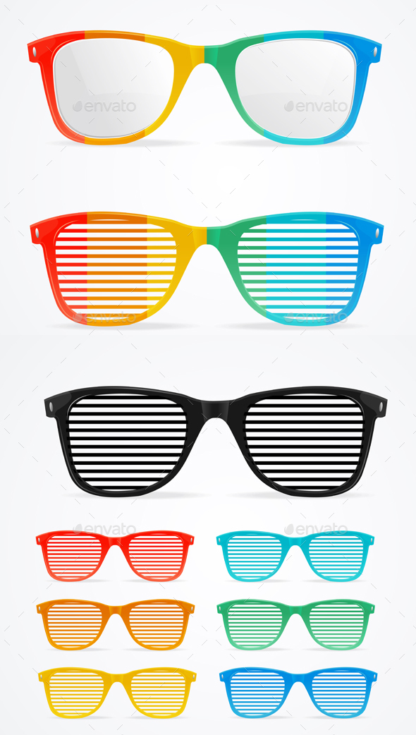 Sunglasses Striped Colorful Set Retro Concept - Man-made Objects Objects