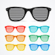 Sunglasses Striped Colorful Set Retro Concept - GraphicRiver Item for Sale