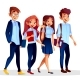 Vector College Students in University Clothing - GraphicRiver Item for Sale