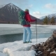 Tourist Stands Near the Lake in Mountais in Winter - VideoHive Item for Sale
