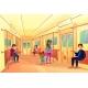 People in Subway Metro Train Vector Illustration