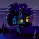 Vector Cartoon Tree House at Night - GraphicRiver Item for Sale