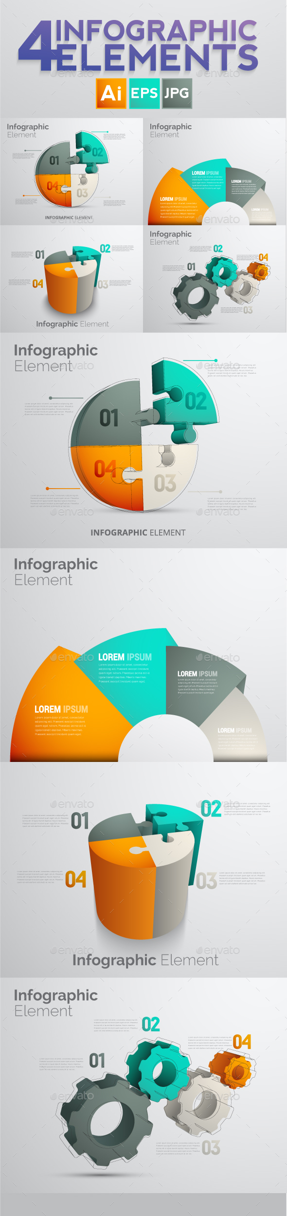Set of 4 Infographic Elements Templates - 2 - Infographics