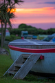 Wooden children playground boat at dusk - PhotoDune Item for Sale