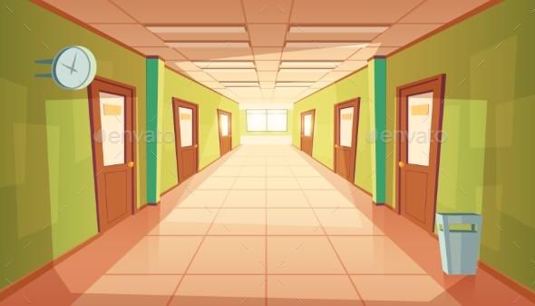 Vector Cartoon School or College Hallway - Buildings Objects