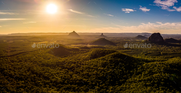 Panoramic aerial of Glasshouse Mountains on the Sunshine Coast f - Stock Photo - Images