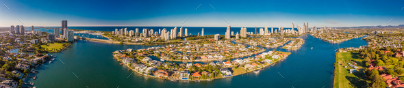 Aerial image of Surfers Paradise and Southport on the Gold Coast - Stock Photo - Images