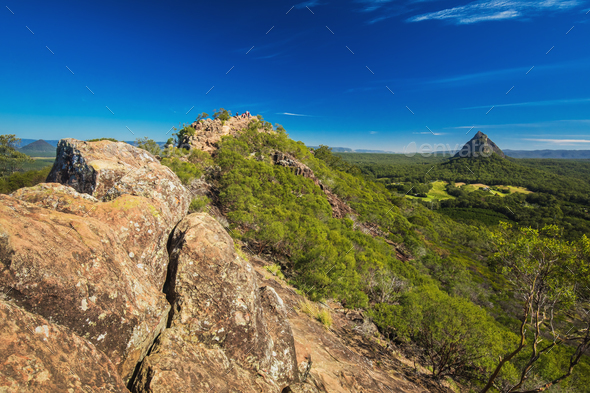 View from the summit of Mount Ngungun, Glass House Mountains, Su - Stock Photo - Images