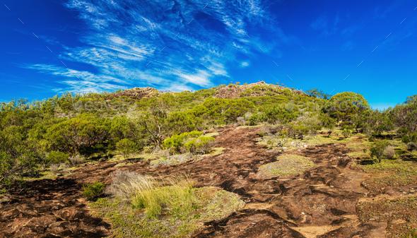The summit of Mount Ngungun, Glass House Mountains, Sunshine Coa - Stock Photo - Images