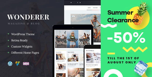 Wonderer | Personal Blog & Review Magazine WordPress Theme - Blog / Magazine WordPress