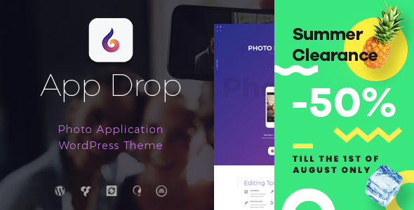 Image of App Drop | Landing Page for Photo Editing Application WordPress Theme