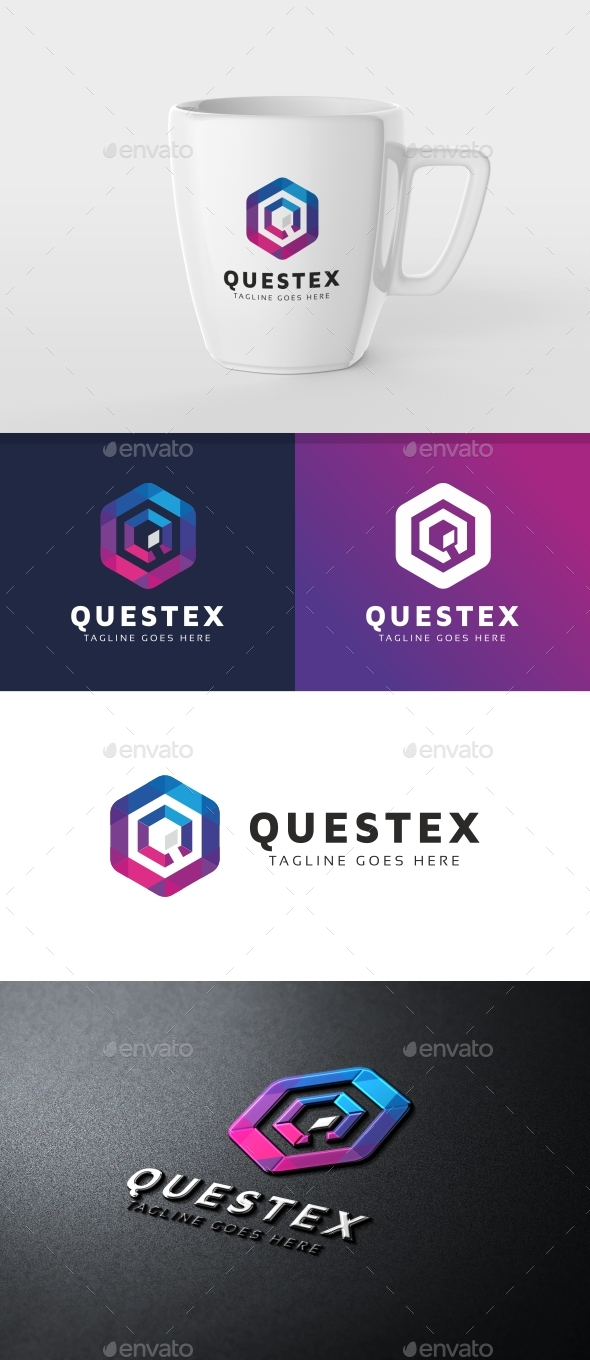Questex Q Letter Hexagon Tech Logo - Letters Logo Templates