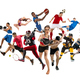 Sport collage about kickboxing, soccer, american football, basketball, badminton - PhotoDune Item for Sale
