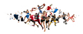 Sport collage about kickboxing, soccer, american football, basketball, badminton