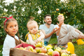 The happy young family during picking apples in a garden outdoors - PhotoDune Item for Sale