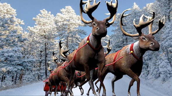 Santa Claus,reindeer 3d model. - 3DOcean Item for Sale