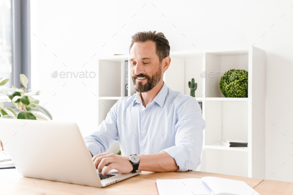 Smiling businessman working on laptop computer - Stock Photo - Images