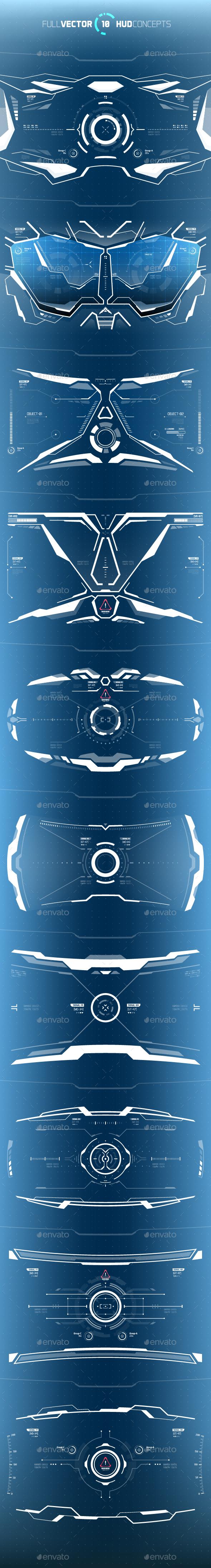 Conceptual 10 Hi-Tech HUD Set - Miscellaneous Vectors