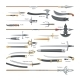 Sword Vector Medieval Weapons of Knight