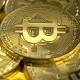 Physical Gold Bitcoin Coin Slowly Rotates.  Shot - VideoHive Item for Sale