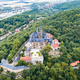 Aerial top view of medieval castle on the top of the mountain - PhotoDune Item for Sale
