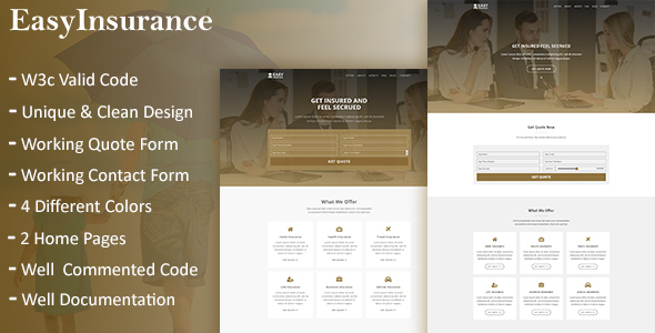 EasyInsurance - Insurance Company Website Templates - Marketing Corporate