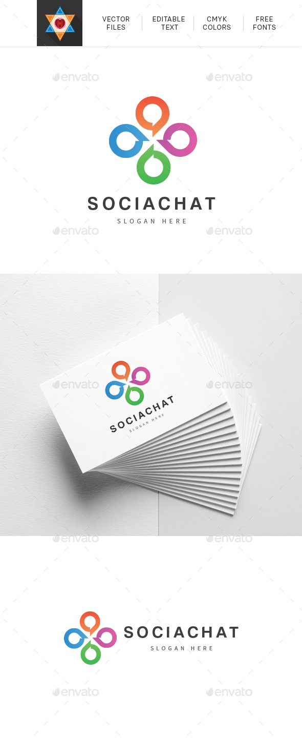 Social Media Chat Logo - Abstract Logo Templates