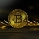 Gold Bitcoin Coins Lie a Few Handfuls on a Dark Table with a Blurred Background - VideoHive Item for Sale