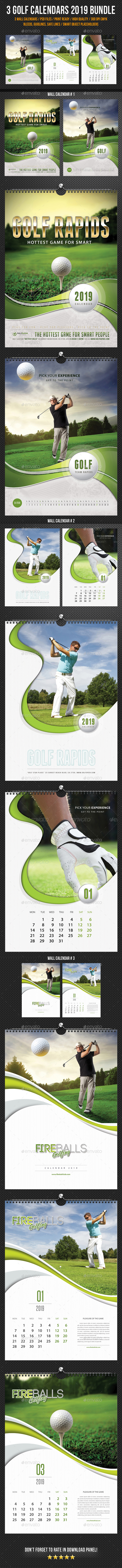 Golf Wall Calendar 2019 Bundle - Calendars Stationery