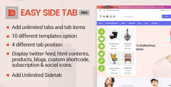 Easy Side Tab Pro - Responsive Floating Tab Plugin For Wordpress (WordPress)
