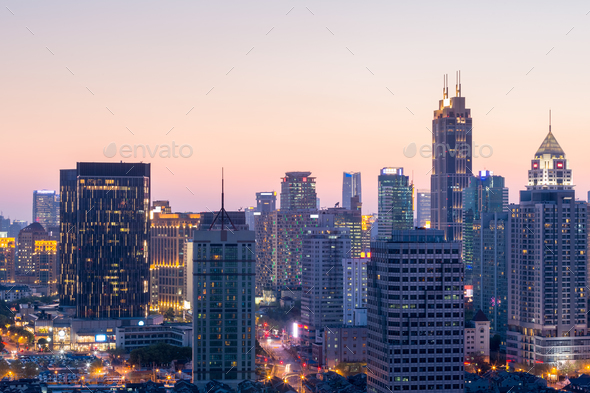 beautiful cityscape and skyline, shanghai modern building in sunset - Stock Photo - Images
