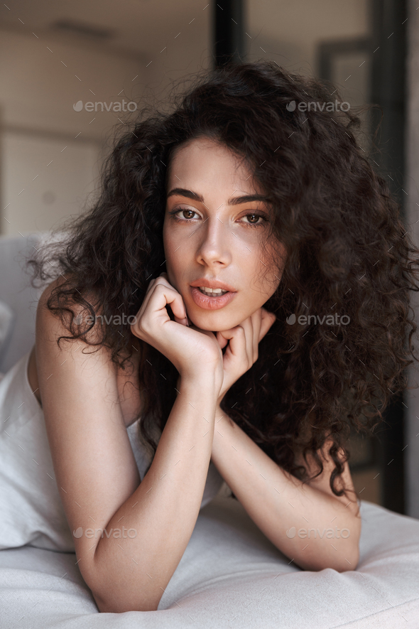 Caucasian Adorable Woman With Long Curly Hair Wearing Silk Leisu Stock Photo By Vadymvdrobot